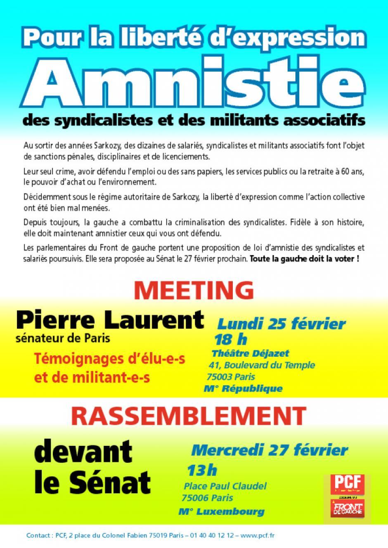 lundi 25 février : meeting pour l'amnistie des militants syndicalistes et associatifs
